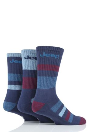 Mens 3 Pair Jeep Cotton Striped Chunky Boot Socks Blue 6-11 Mens