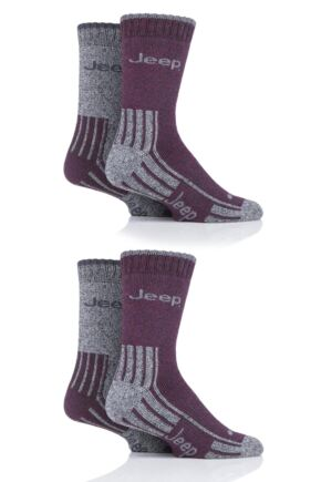 Mens 4 Pair Jeep Polyester Boot Socks