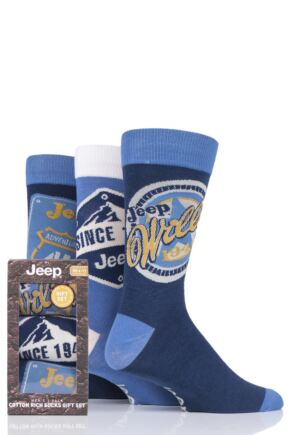 Mens 3 Pair Jeep Logo Gift Box Socks