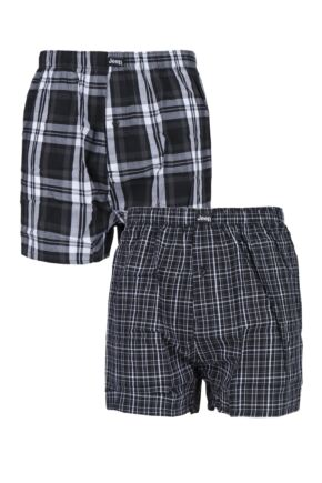 Mens 2 Pair Jeep Mens Black Boxers