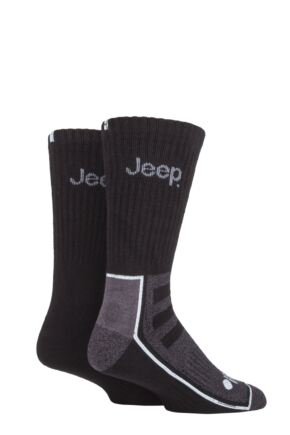 Mens 2 Pair Jeep Exclusive to SOCKSHOP Bamboo Boot Socks Black / Charcoal 6-11 Mens