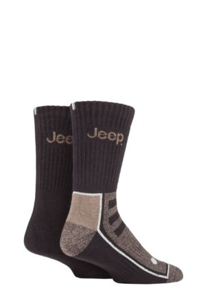Mens 2 Pair Jeep Exclusive to SOCKSHOP Bamboo Boot Socks Brown / Earth 6-11 Mens