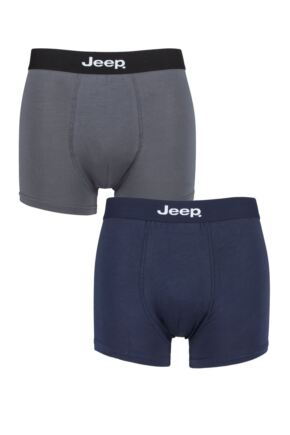 Mens 2 Pack Jeep Plain Fitted Bamboo Trunks