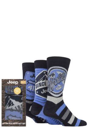 Mens 3 Pair Jeep Logo Gift Box Socks