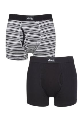 Mens 2 Pack Jeep Plain and Fine Striped Keyhole Trunks