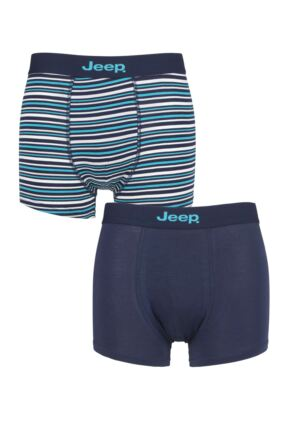 Mens 2 Pack Jeep Plain and Fine Striped Fitted Bamboo Trunks