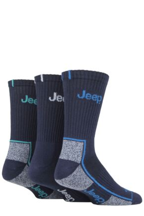 Mens 3 Pair Jeep Cushioned Crew Cotton Sport Socks