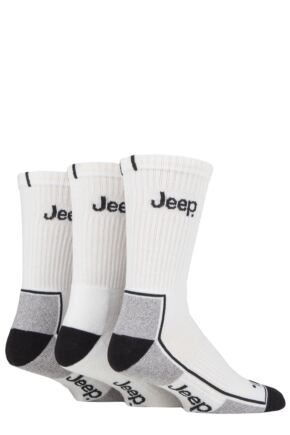 Mens 3 Pack Jeep Cushion Crew Sports Socks