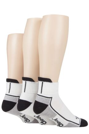 Mens 3 Pack Jeep Cushioned Sports Ankle Socks