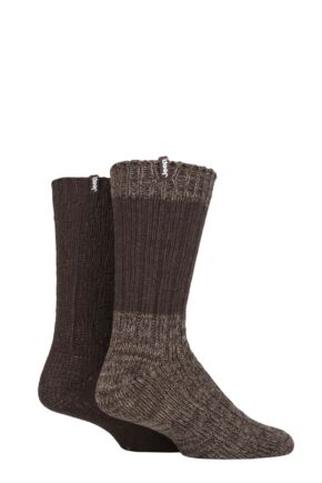 Mens 2 Pair Jeep Wool Blend Cable Knit Boot Socks Brown / Earth 6-11 Mens