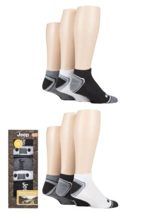 Mens 6 Pair Jeep Performance Cushioned Trainer Socks Gift Box