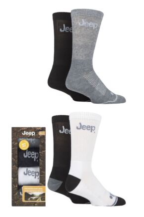 Mens 4 Pair Jeep Performance Cushioned Sports Socks Gift Box