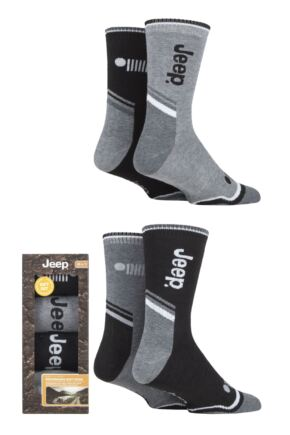 Mens 4 Pair Jeep Performance Cushioned Boot Socks Gift Box