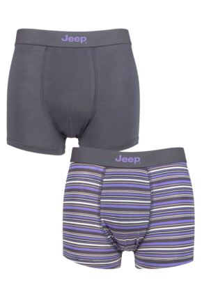Mens 2 Pack Jeep Striped Fitted Bamboo Trunks