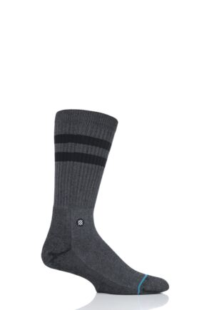 Mens and Ladies 1 Pair Stance Joven Striped Top Plain Cotton Socks Black 5.5-8 Mens