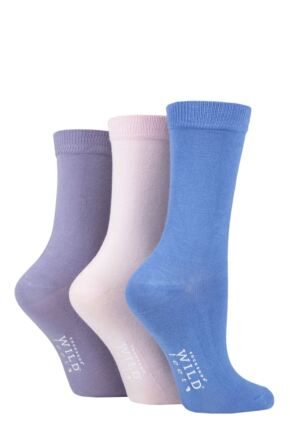 Ladies 3 Pair Wild Feet Plain Bamboo Socks