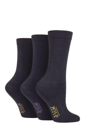 Ladies 3 Pair Wild Feet Plain Bamboo Socks