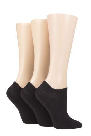 Ladies 3 Pair Wild Feet Plain and Contrast Heel Trainer Socks
