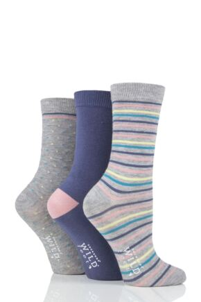 Ladies 3 Pair SOCKSHOP Wild Feet Stripe and Dot Bamboo Socks