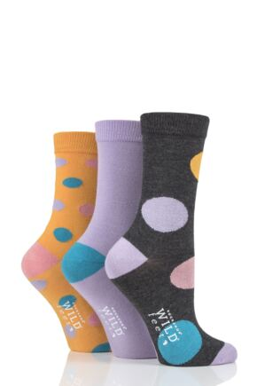 Ladies 3 Pair SOCKSHOP Wild Feet Large Dot Bamboo Socks Charcoal 4-8 Ladies