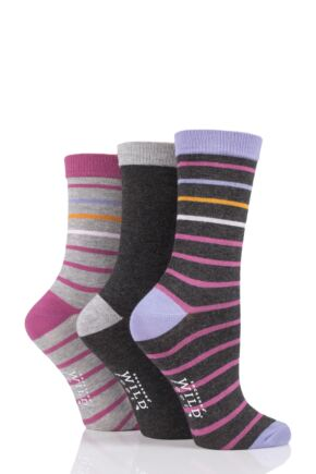 Ladies 3 Pair SOCKSHOP Wild Feet Striped Bamboo Socks