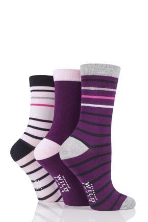 Ladies 3 Pair SOCKSHOP Wild Feet Striped Bamboo Socks