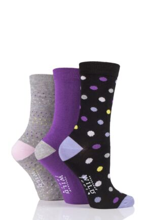 Ladies 3 Pair SOCKSHOP Wild Feet Dots and Plain Bamboo Socks