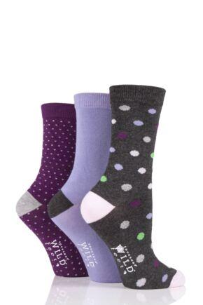 Ladies 3 Pair SOCKSHOP Wild Feet Dots and Plain Bamboo Socks Charcoal 4-8 Ladies