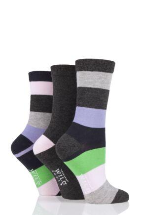 Ladies 3 Pair SOCKSHOP Wild Feet Broad Stripes Bamboo Socks Charcoal 4-8 Ladies