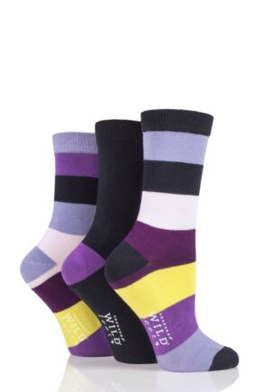 Ladies 3 Pair SOCKSHOP Wild Feet Broad Stripes Bamboo Socks