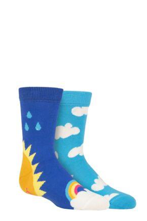Kids 2 Pair Happy Socks After Rain Socks