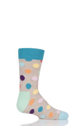 Boys & Girls 1 Pair Happy Socks All Over Dots Cotton Socks Grey 7-9 Years