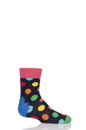 Boys & Girls 1 Pair Happy Socks All Over Dots Cotton Socks Blue Multi 0-12 Months