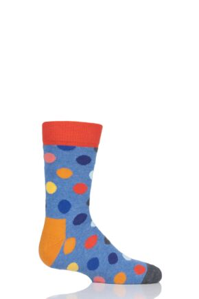 Boys & Girls 1 Pair Happy Socks All Over Dots Cotton Socks Blue 7-9 Years