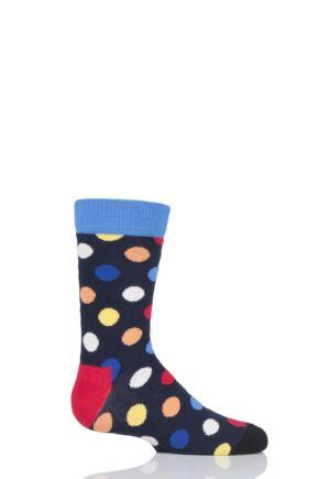 Boys & Girls 1 Pair Happy Socks All Over Dots Cotton Socks Navy 7-9 Years