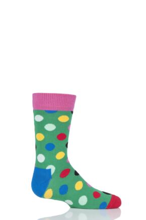 Boys & Girls 1 Pair Happy Socks All Over Dots Cotton Socks Green 2-3 Years