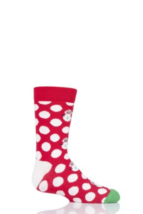 Boys & Girls 1 Pair Happy Socks Christmas Big Dot Snowman Cotton Socks Red 7-9 Years