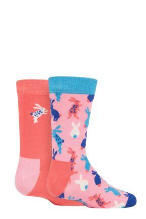 Kids 2 Pair Happy Socks Bunny Socks Multi 2-3 Years