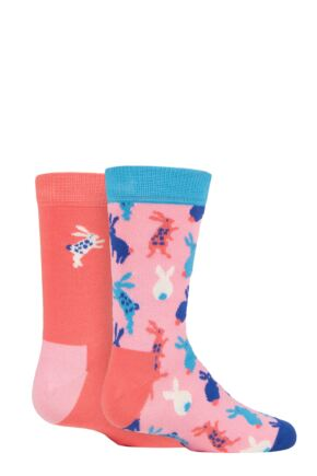 Kids 2 Pair Happy Socks Bunny Socks