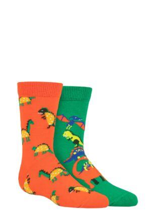 Kids 2 Pair Happy Socks Dinos Socks Multi 2-3 Years