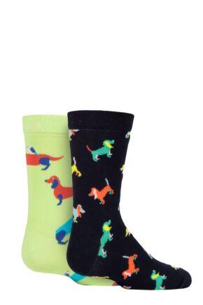 Kids 2 Pair Happy Socks Dogs Socks