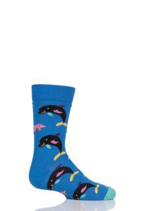 Boys & Girls 1 Pair Happy Socks Dolphin Cotton Socks Blue 7-9 Years
