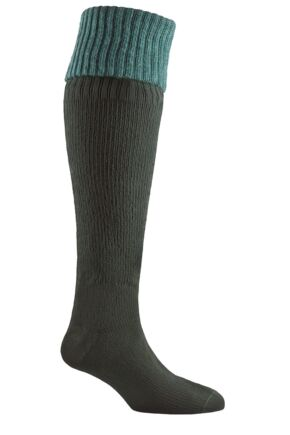 Mens and Ladies 1 Pair Sealskinz Country 100% Waterproof Knee High Socks Green Medium
