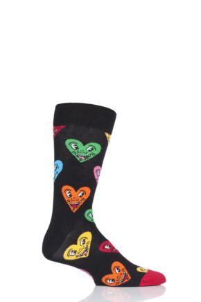 Mens and Ladies 1 Pair Happy Socks Keith Haring Heart Socks