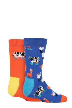 Kids 2 Pair Happy Socks Farmlife Socks