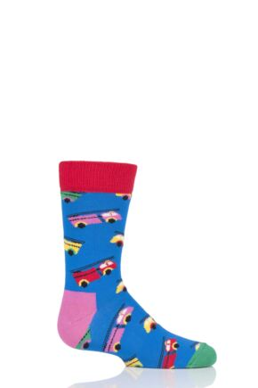 Boys & Girls 1 Pair Happy Socks Fire Truck Cotton Socks Multi 0-12 Months
