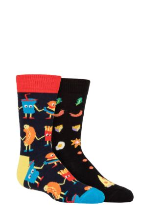Kids 2 Pair Happy Socks Food Friends Socks