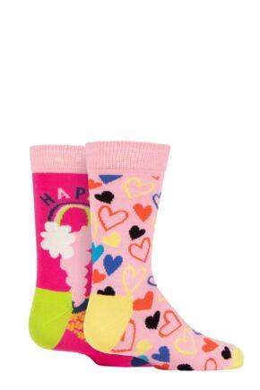 Kids 2 Pair Happy Socks Happy Love Socks