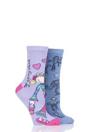 Ladies 2 Pair SOCKSHOP Groovy Chick Cotton Socks