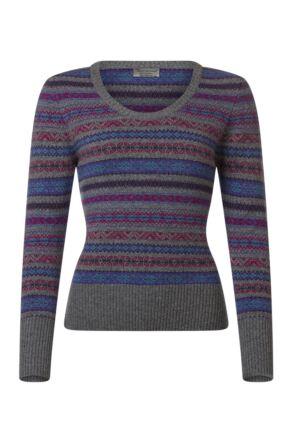 Ladies Great & British Knitwear 100% Lambswool Scoop Neck Fairisle Jumper Dove Grey D Large